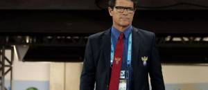 Russia's head coach Fabio Capello walks on to the pitch for the group H World Cup soccer match between Russia and South Korea at the Arena Pantanal in Cuiaba, Brazil, Tuesday, June 17, 2014.  (AP Photo/Ivan Sekretarev)