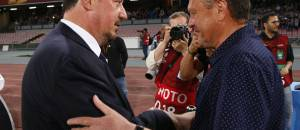 Napoli's coach from Spain Rafael Benitez (L) greets Dnipro's coach from Ukraine Miron Markevych before the UEFA Europa League semi final first leg football match SSC Napoli vs FK Dnipro Dnipropetrovsk on May 7, 2015 at the San Paolo Stadium in Naples.AFP PHOTO / CARLO HERMANN        (Photo credit should read CARLO HERMANN/AFP/Getty Images)