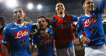 (From L) Napoli's players : Algerian defender Faouzi Ghoulam, Belgian forward Dries Mertens, Slovak forward Marek Hamsik and Spanish forward Jose Maria Callejon celebrate at the end of the Italian Serie A football match SSC Napoli vs FC Juventus on September 26, 2015 at the San Paolo stadium in Naples. AFP PHOTO / CARLO HERMANN        (Photo credit should read CARLO HERMANN/AFP/Getty Images)