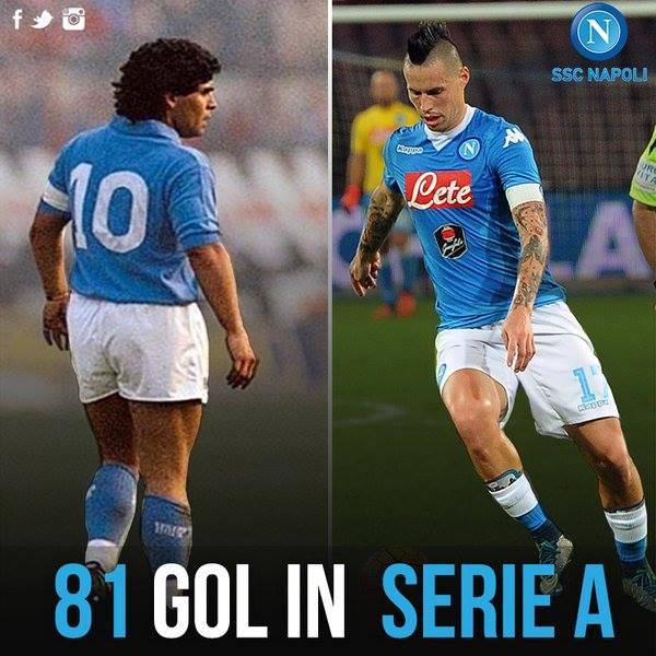 Napoli, Hamsik nella storia 81 reti in Serie A come Maradona
