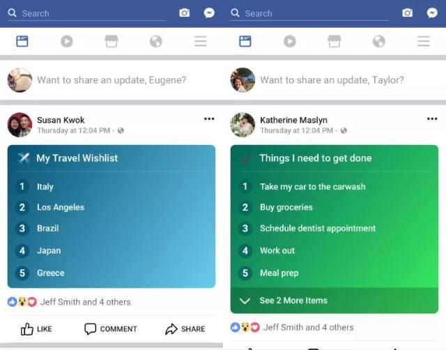 Facebook List: nuova funzione per gli status