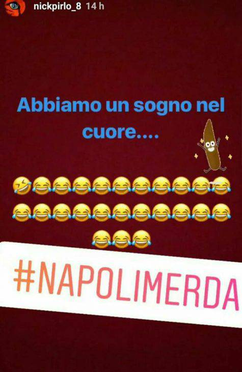 Instagram, il figlio di Pirlo offende il Napoli
