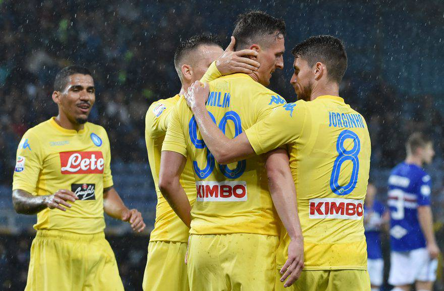 Sampdoria Napoli esultanza Milik
