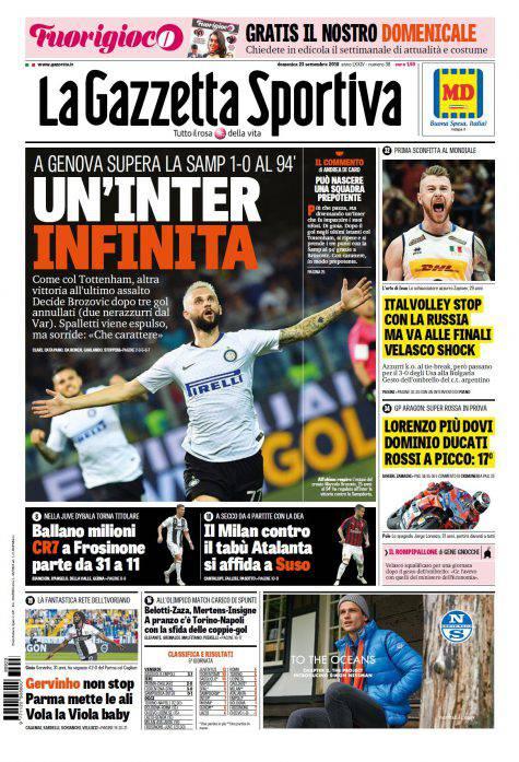 Gazzetta dello Sport Prima Pagina 23 settembre 2018