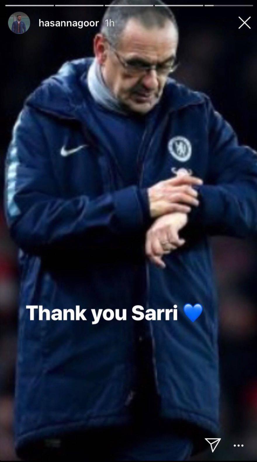 Sarri, la stories di Hasan Nagoor, azionista del Chelsea.
