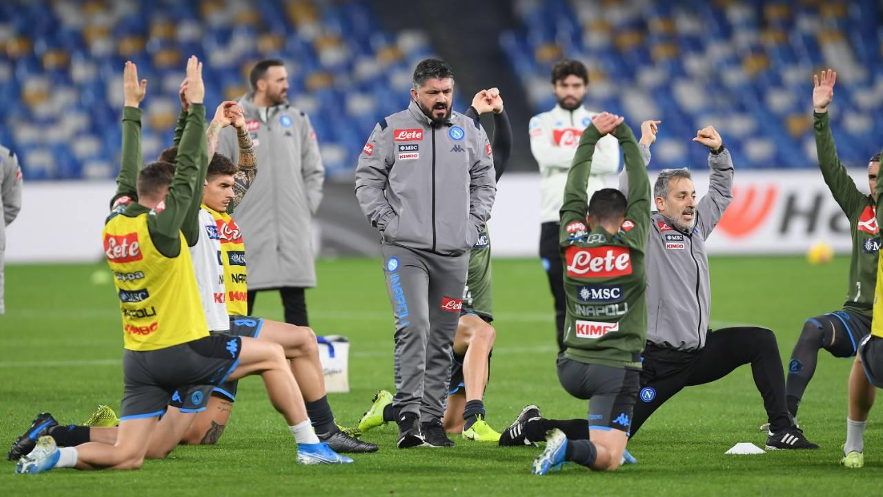 Gattuso riscaldamento Napoli