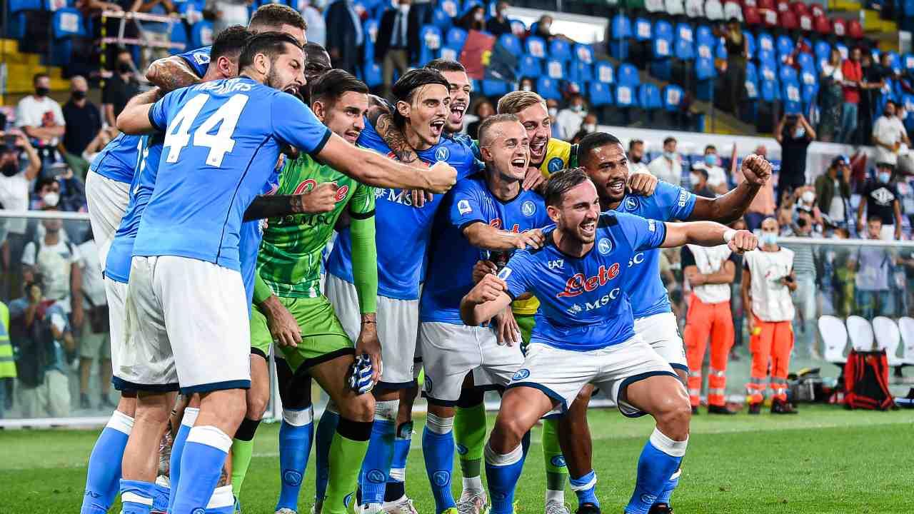 Calciatori del Napoli in posa per la foto