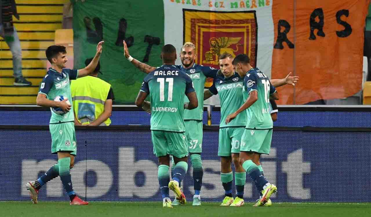 L'esultanza dell'Udinese contro il Venezia