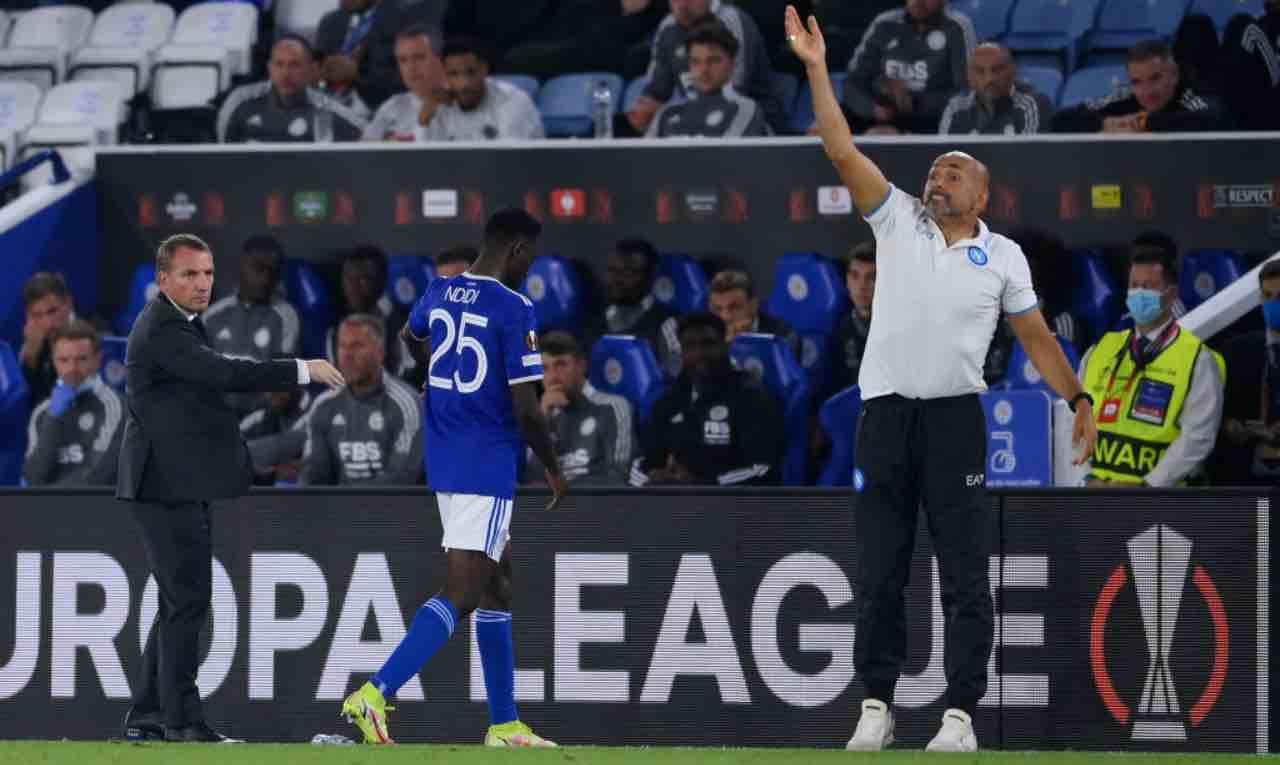 Spalletti durante Leicester-Napoli
