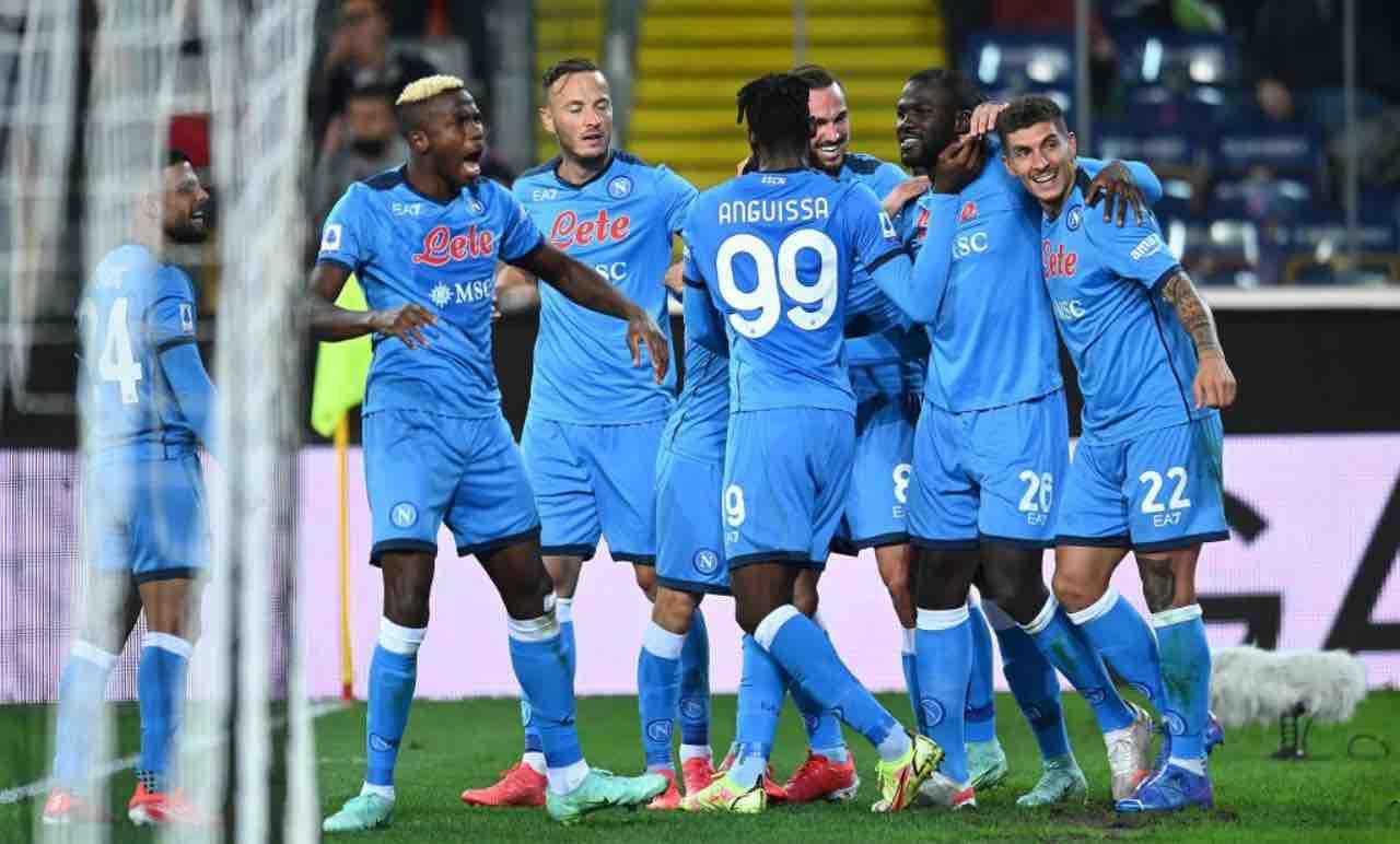 L'esultanza del Napoli contro l'Udinese