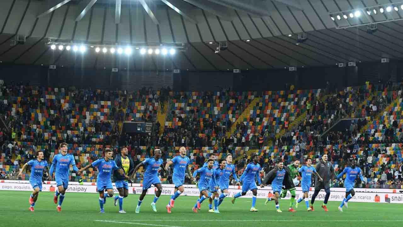 Udinese-Napoli, l'esultanza degli azzurri a fine match