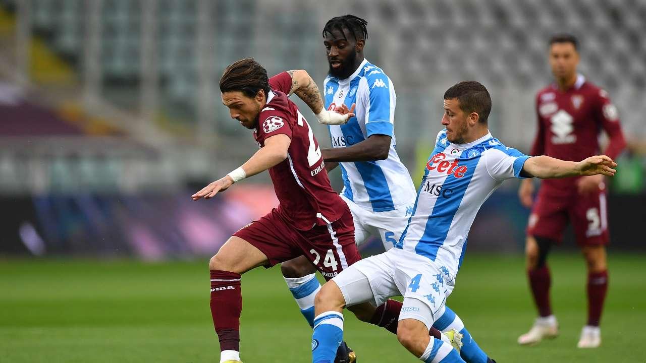 Azione di gioco in Torino-Napoli