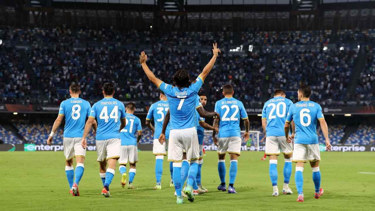 L'esultanza di Elmas in Napoli-Spartak Mosca